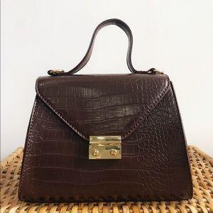 Handbags - 🆕Estella Brown Croc Top Handle Bag